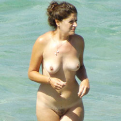 Greek Nudist Spied Upon - Big Tits, Brunette Hair, Hairy Bush, Beach Voyeur
