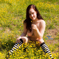Sitting Topless Around The Flowers - Big Tits, Brunette Hair, Exposed In Public, Hanging Tits, Nipples, Nude In Nature, Nude In Public, Showing Tits, Topless Girl, Topless Outdoors, Topless, Hot Girl, Sexy Body, Sexy Boobs, Sexy Figure, Sexy Girl, Sexy Legs, Sexy Panties, Sexy Woman