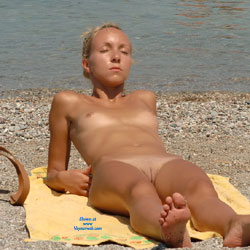In Rhodes - Blonde Hair, Shaved, Small Tits, Beach Voyeur