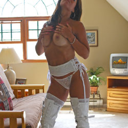 White Fuck Me Boots - Big Tits, Brunette, High Heels Amateurs, Lingerie