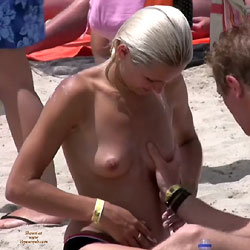 Touching Boobs - Beach Voyeur , The Pics Tells The Story