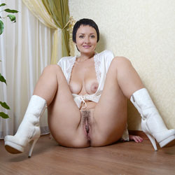 Sophia in White - Big Tits, Brunette, High Heels Amateurs, Bush Or Hairy