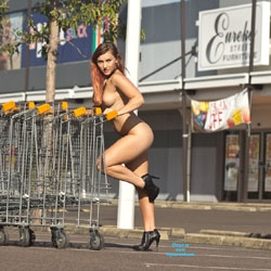 Going Shopping - Big Tits, Exposed In Public, Flashing, Heels, Nude In Public, Redhead, Shaved , Quiet Carpark = Fun To Be Had