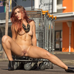Sophie Goes Shopping - Big Tits, Exposed In Public, Heels, Nude In Public, Redhead, Shaved