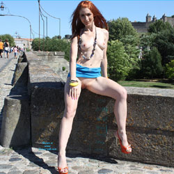 Vienna Downtown In Carcassonne - Exposed In Public, Flashing, Nude In Public, Redhead, Shaved