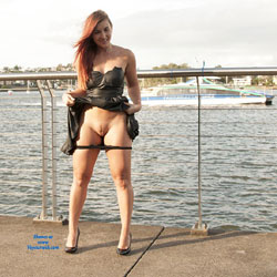 Stripteasing In Public  - Exposed In Public, Flashing, Heels, Nude In Public, Red Hair, Redhead, Shaved Pussy, Strip, Hairless Pussy, Pussy Flash, Sexy Body, Sexy Figure, Sexy Girl, Sexy Legs, Sexy Panties, Sexy Woman, Dressed
