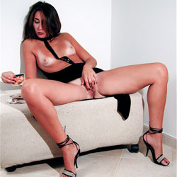 Rubbing Her Pussy On The Couch - Brunette Hair, Firm Tits, Hard Nipple, Heels, Masturbation, Nipples, No Panties, Pussy Lips, Showing Tits, Small Breasts, Small Tits, Hot Girl, Sexy Body, Sexy Face, Sexy Feet, Sexy Girl, Sexy Woman