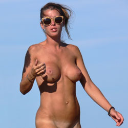 Walking On The Beach - Big Tits, Beach Voyeur