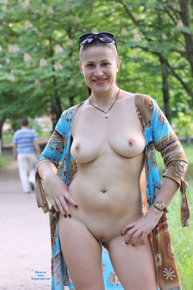 Pic #1 - Viko Walking - Big Tits, Brunette Hair, Exposed In Public, Flashing, Nude In Public, Shaved , I Like Teasing My Neighbors :) LOL
