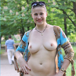 Viko Walking - Big Tits, Brunette Hair, Exposed In Public, Flashing, Nude In Public, Shaved