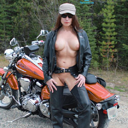 Biker Babe - Big Tits, Nature, Shaved