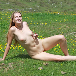 Bri On Alpine Pasture - Nude In Public, Shaved