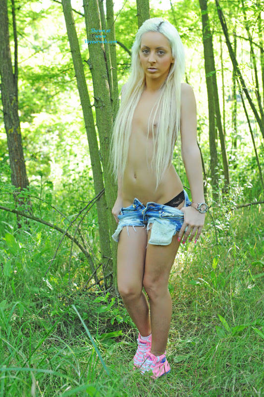 Pic #1 - Michelle In The Forest - Blonde Hair, Nude In Public, Small Tits , I Like To Walk Alone In Woods.