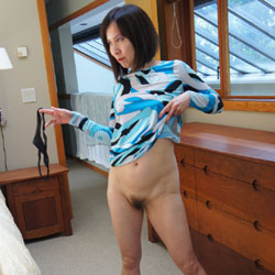 Carolyn Jane In New Blue Dress Part Three - Brunette, Small Tits, Bush Or Hairy