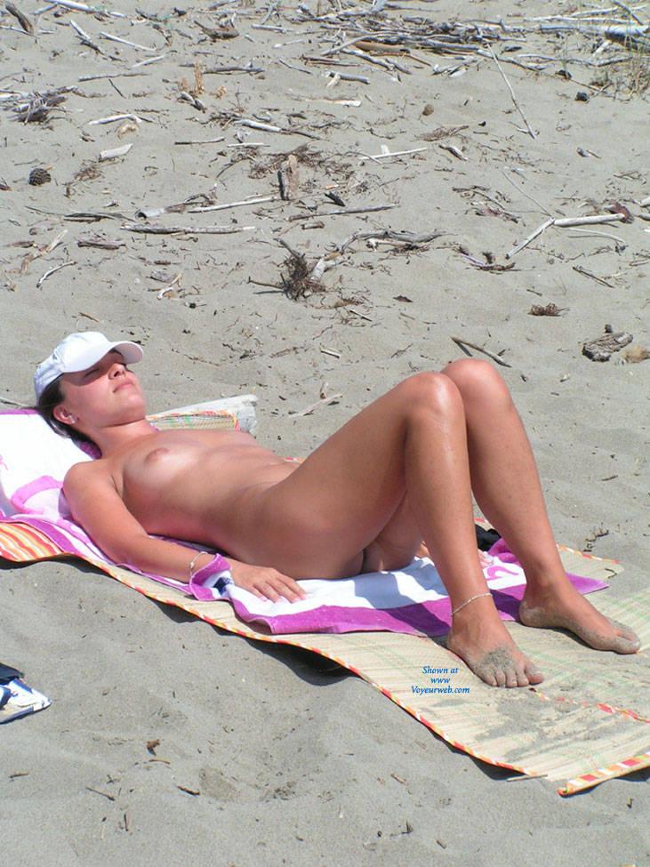 Pic #3 At The Beach - Beach, Big Tits, Brunette