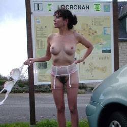 Locronan - Big Tits, Brunette, Flashing, Lingerie, Public Exhibitionist, Public Place, Bush Or Hairy