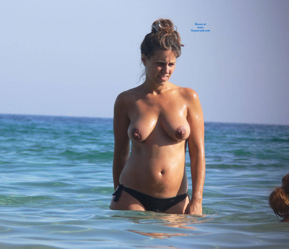 Topless Brunette Enjoying The Beach Water - June, 2014 -3757
