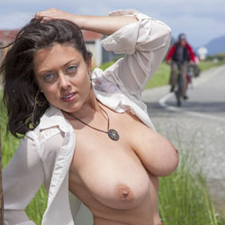 Flashing My DDDs - Big Tits, Brunette, Flashing, Public Exhibitionist, Public Place, Shaved
