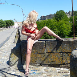Nina Visits Carcassonne - Blonde Hair, Exposed In Public, Flashing, Nude In Public