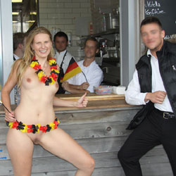 Bri - World Cup Special - Big Tits, Blonde, Flashing, Public Exhibitionist, Public Place, Shaved
