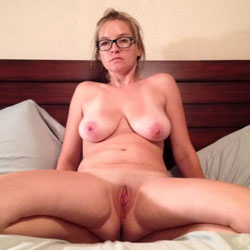 Milf With Big Tits Wearing Glasses And Spreading Pussy - Big Tits, Shaved