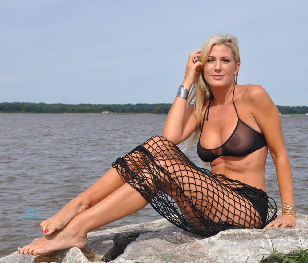 Pic #1 - Vikki On The Rocks - Big Tits, Blonde Hair, Beach Voyeur , Vikki Loves The Beach.  And The Beach Loves Vikki!!!