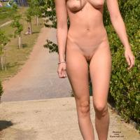 Public Park - Brunette Hair, Exposed In Public, Nude In Public , Wandering Naked In A Public Park