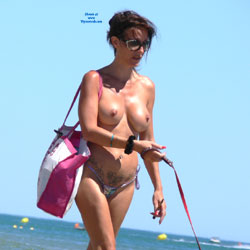 Like My Tattoo? - Big Tits, Shaved, Tattoo, Beach Voyeur , The Best Place To Show Your Tattoo. On The Nude Beach. Look At These Tattoos!