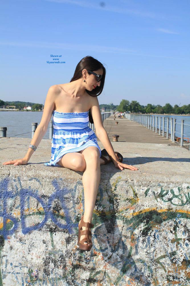 Pic #1 Bella At The Pier - Big Tits, Brunette, Shaved