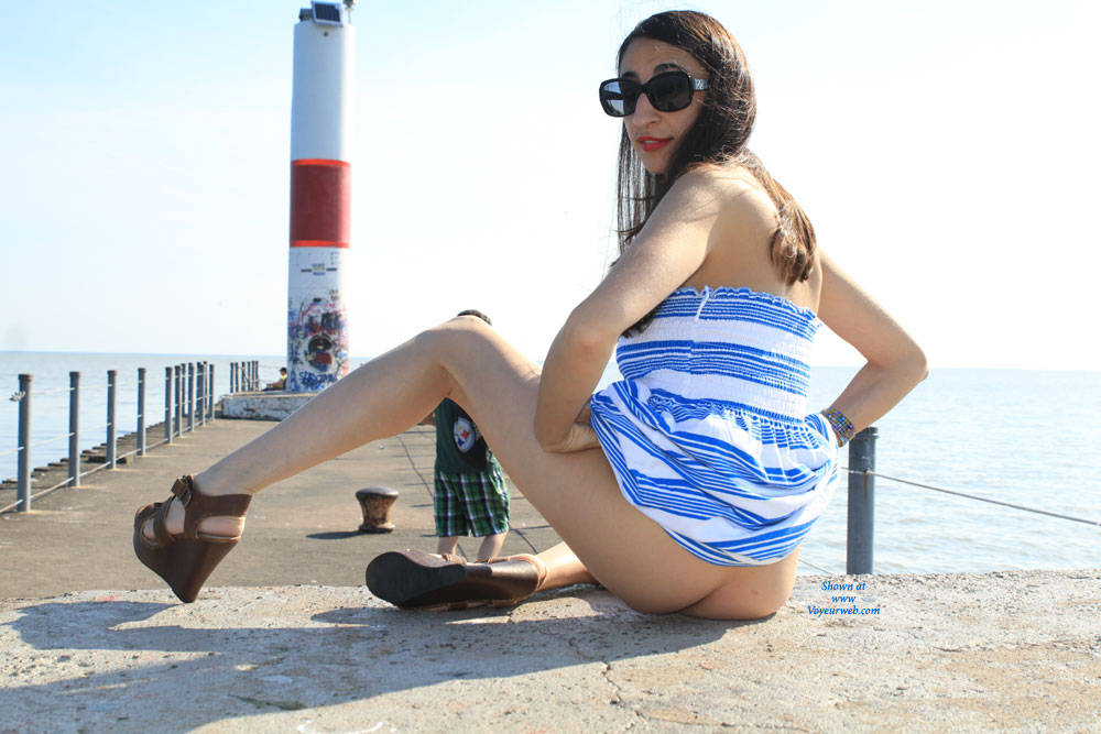 Pic #4 Bella At The Pier - Big Tits, Brunette, Shaved
