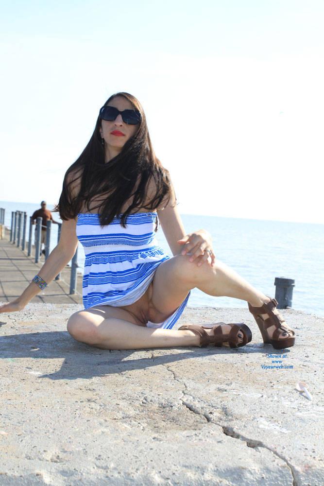 Pic #5 Bella At The Pier - Big Tits, Brunette, Shaved