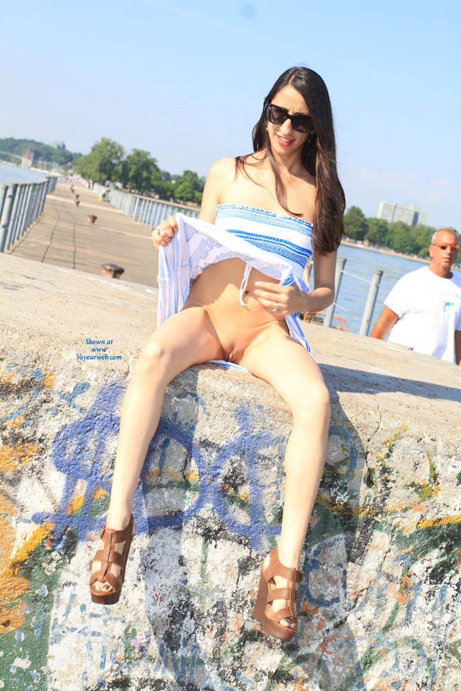 Pic #7 Bella At The Pier - Big Tits, Brunette, Shaved