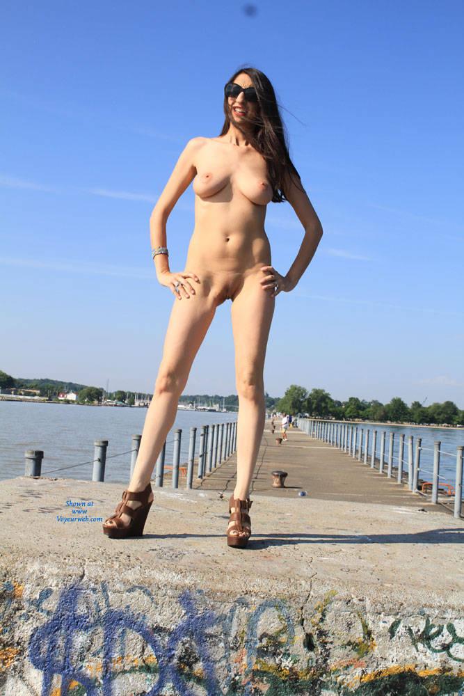 Pic #9 Bella At The Pier - Big Tits, Brunette, Shaved