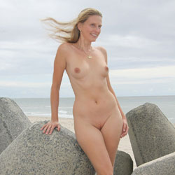 Bri At The Beach - Shaved, Beach Voyeur
