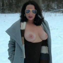 Snow Fun - Big Tits, Brunette, Outdoors