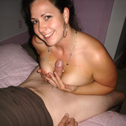 Cock Between Tits - Bed, Brunette Hair, Huge Tits, Indoors, Showing Tits, Hot Girl, Sexy Boobs, Sexy Face, Sexy Girl, Blowjob
