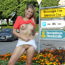 Bri Pantiless In Heiligenberg - Blonde, Flashing, Public Exhibitionist, Public Place, Shaved