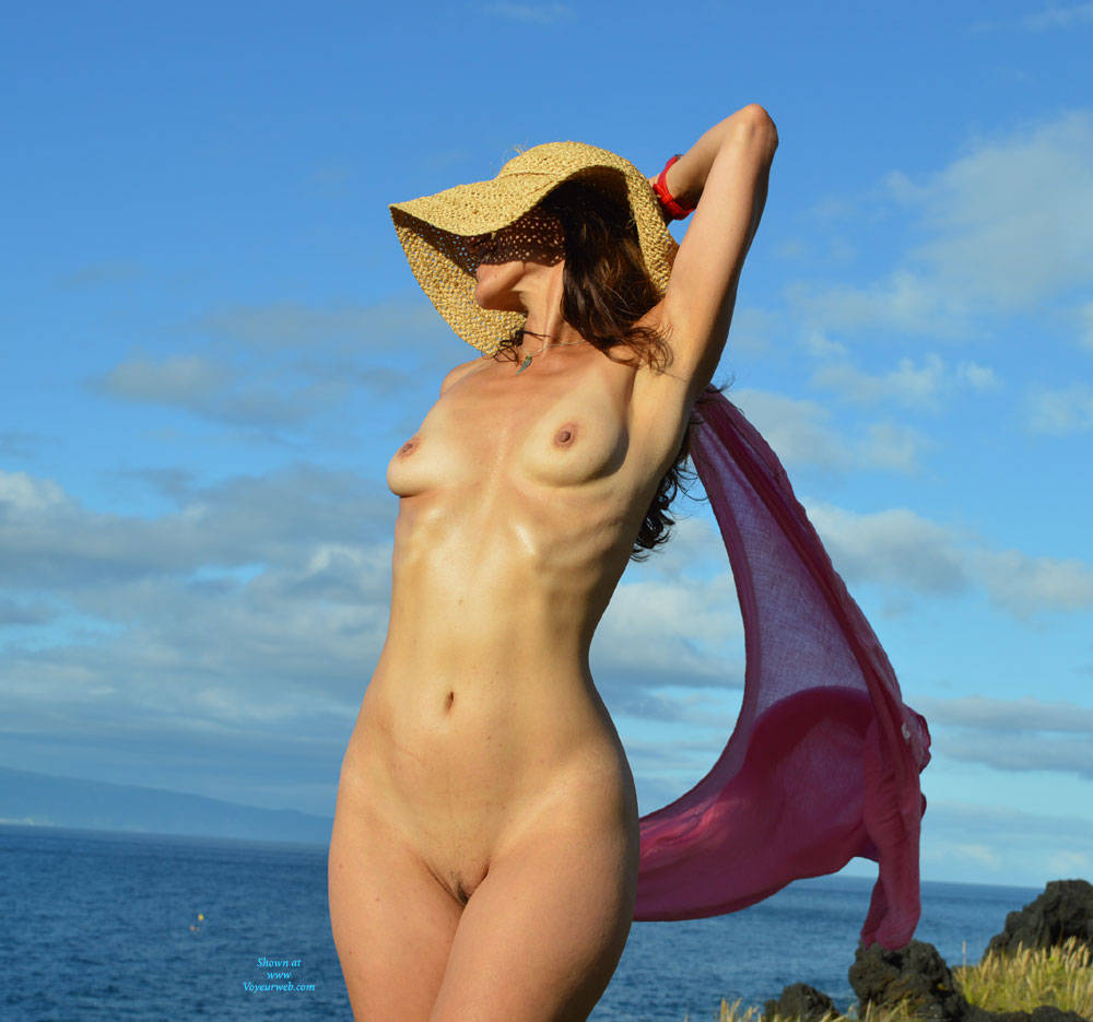 Pic #1 - Pink Scarf In The Wind - Shaved , I Love Being Naked Outside. We Found This Beautiful Spot On Our Summer Vacation...off Came The Clothes And Out Came The Camera :)