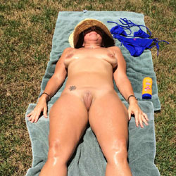 Sunbathing In The Yard - Big Tits, Shaved, Tattoos
