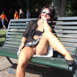 Walking Pantiless In The Park - Brunette, Public Exhibitionist, Public Place