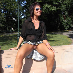 Without Panties In The Park Part 2 - Brunette, Public Exhibitionist, Public Place