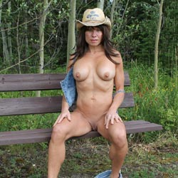 Stormy Day In The Field - Big Tits, Brunette, Nature, Shaved, Striptease