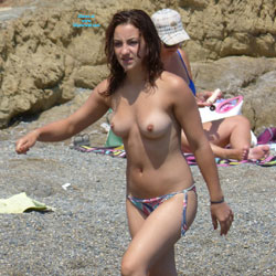 Walking Topless At The Beach - Big Tits, Bikini, Brunette Hair, Exposed In Public, Firm Tits, Huge Tits, Nipples, Nude Beach, Nude In Nature, Nude Outdoors, Perfect Tits, Showing Tits, Topless Beach, Topless Girl, Topless Outdoors, Topless, Beach Tits, Beach Voyeur, Sexy Body, Sexy Boobs, Sexy Figure, Sexy Girl, Sexy Woman, Young Woman