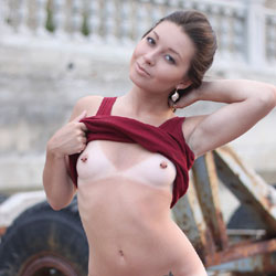 Vivienne - Morning Walk - Brunette, Firm Ass, Public Exhibitionist, Public Place, Shaved