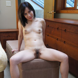 CJ And Her Hairy Bush - Asian Girl, Brunette Hair, Hairy Bush, Heels, Navel Piercing