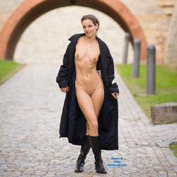 First Contri - Brunette, Public Exhibitionist, Public Place, Shaved