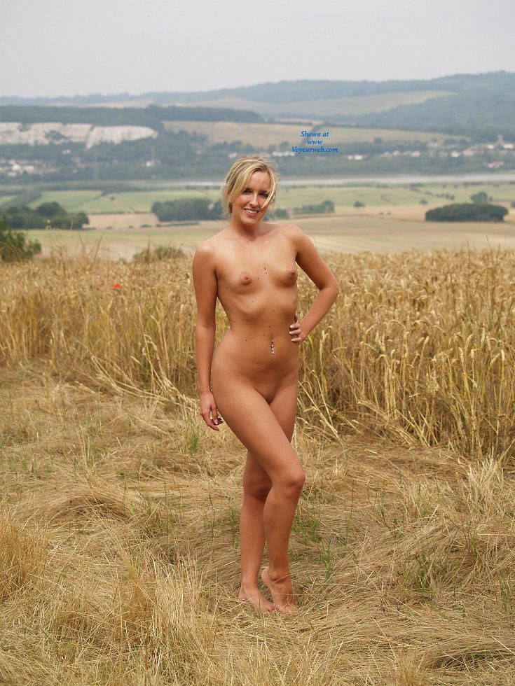 Summer Time - Blonde Hair, Shaved , Charlie Finds Her Clothing Too Hot And Strips To Enjoy The Cooling Breeze