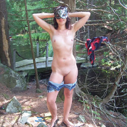 Naughty Outdoors - Brunette, Nature, Shaved