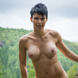 Nude On The Rock - Big Tits, Brunette, Nature