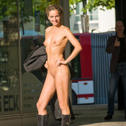 Bus Stop - Flashing, Public Exhibitionist, Public Place, Shaved